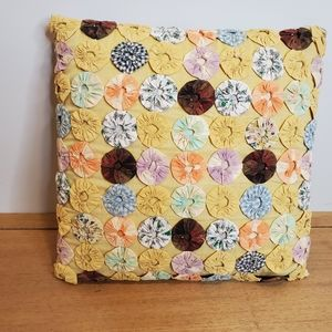 "Other - Handmade YoYo 14"" Square Patchwork Pillow"